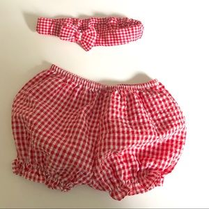 Other - Baby Girl's Gingham Diaper Cover and Headband Set